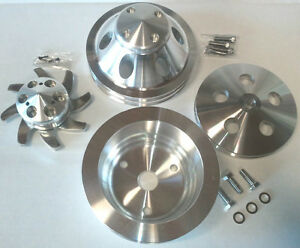 Polished Finish Aluminum Small Chevy Sbc 2 Groove Long Pump Pulley Kit 350