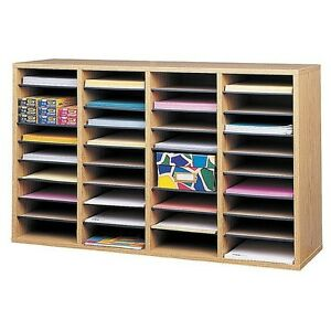 Office Supplies Sorter 36 Shelves Literature Storage Wood Organizer Adjustable