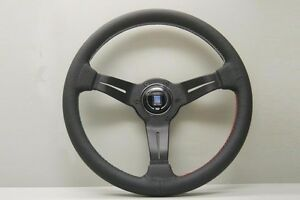 Nardi Deep Corn Steering Wheel 350mm Black Leather With Tri color Stitching