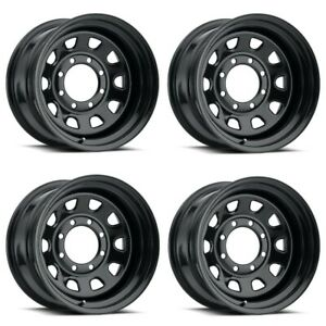 Set 4 16 Vision 84 D Window Black Rims 16x8 6x5 5 12mm Chevy Gmc K1500 6 Lug