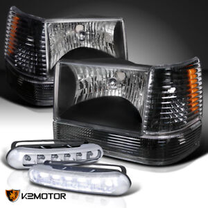 Black 93 96 Jeep Grand Cherokee Headlights corner bumper Light led Fog Lamps