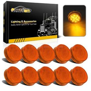 10x Trailer Lights Sealed 2 5 Round 13led Led Side Marker Clearance Amber Lens