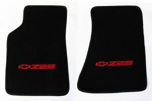 New Carpet Floor Mats 1982 2002 Camaro Z28 Embroidered Logo In Red Pair