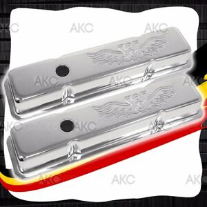 Stamped V8 Logo Steel Short Valve Covers For 58 86 Chevy Sb 283 305 327 350 400