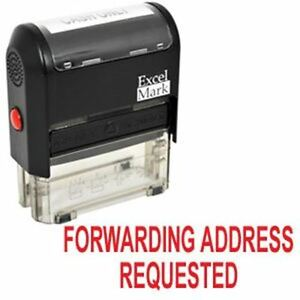 New Excelmark Forwarding Address Requested Self Inking Stamp A1539 Red Ink