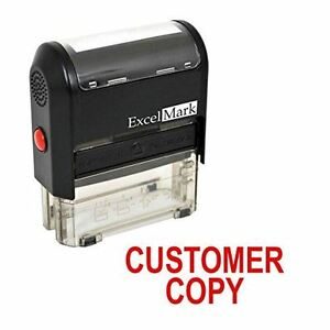 Excelmark Customer Copy Self Inking Rubber Stamp A1539 Red Ink