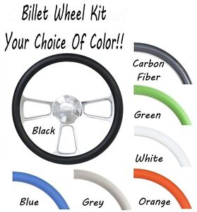 Billet Steering Wheel W chevy Horn Your Choice Of Color Half Wrap Full Boss Kit