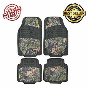 4pcs Camouflage All Weather Waterproof Rubber Trimmable Car Floor Mats Truck Suv