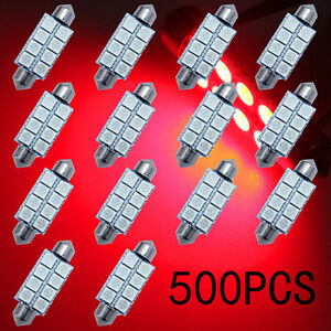 500x Red 8 smd Led Map Dome Interior Lights Bulbs 42mm Festoon 578 211 212 5050