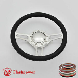 14 Billet Steering Wheel Black Fullwrap Ford Fairlane Galaxie Ltd Ranch W Horn