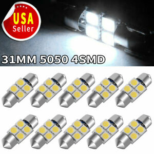 10x 31mm Festoon 5050 Led Super White Car Interior Light Bulb De3175 De3021