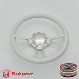 14 Billet Steering Wheel White Full Wrap Chevrolet Monte Carlo Camaro W Horn