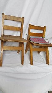 Pair Solid Wood Child S Folding Chairs Vintage School Chairs Mid Century Chairs