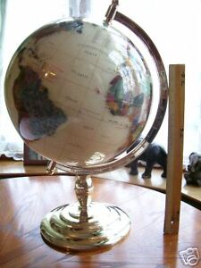 330mm Gem Stone Globe With Gold Plated Stand New