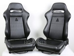2 Tanaka Black Pvc Leather Racing Seats Reclinable Sliders Fit For Ford Ranger