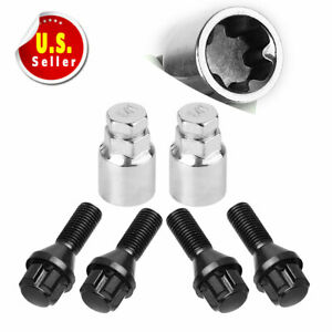 4 2 Black 12x1 5 Wheel Lock Spline Lug Bolt Nuts For Honda Acura Toyota Bmw Ford