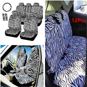 12pcs White Zebra Car Seat Cover Set Steering Wheel Cover Shoulder Pad Universal