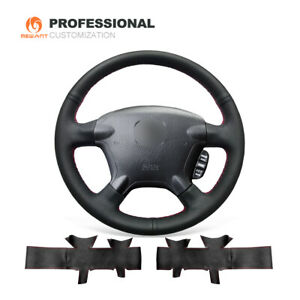 Sewing Black Genuine Leather Steering Wheel Cover For Honda Crv Cr V 2002 2006