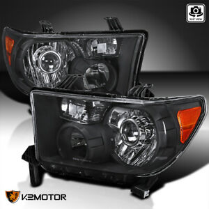 For 2007 2013 Toyota Tundra 08 14 Sequoia Black Projector Headlights Retro Style