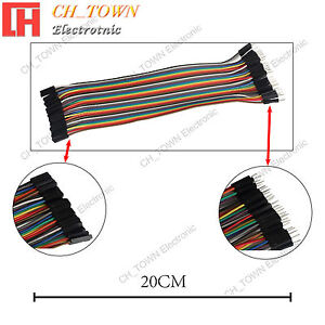 40pcs 20cm Dupont Wire Male To Female Breadboard Jumper Wires Ribbon Cable Usa