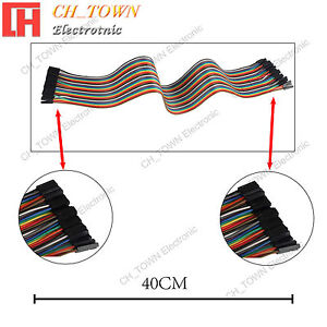 40pcs 40cm Dupont Wire Female To Female Breadboard Jumper Wires Ribbon Cable Usa