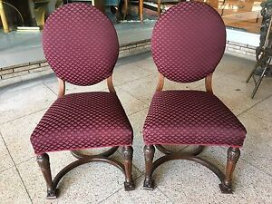 Vintage Pair Victorian Revival Side Chairs New Maroon Upholstery