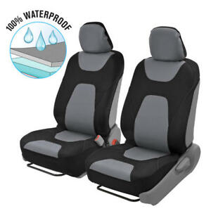 2pc Front Car Seat Covers 100 Waterproof Polyester Neoprene Black Gray 2tone