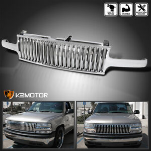 1999 2002 Chevy Silverado 00 06 Tahoe Suburban Chrome Vertical Hood Grill Grille