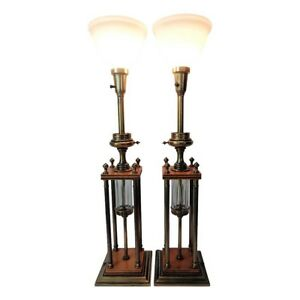 Vintage Pair Of Mcm Stiffel Tall Table Lamps Trophy Federal Oil Style Brass Wood