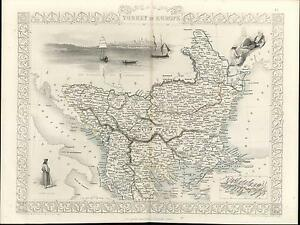 Turkey In Europe Greece Balkans Bosphorus Istanbul C 1855 Tallis Antique Map