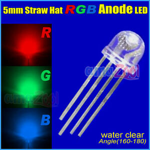 1000pcs X 5mm 4 Pin Straw Hat Common Anode Rgb Led Red green blue Light 160 180