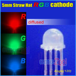 1000pcs 4pin 5mm Straw Hat Diffused Common Cathode Rgb Led Red green blue 120deg