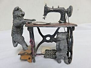 Antique Cast Iron Decor Cats Stand Miniatures Sewing Machine Table Dollhouse