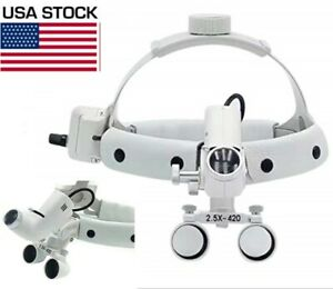 2 5x Dental Surgical Medical Headband Loupes With 5w Led Head Light Dy 105 White