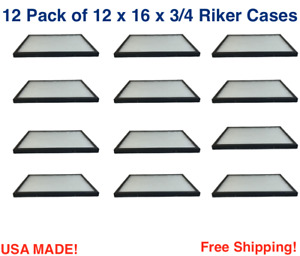 12 Pack Of Riker Display Cases 12 X16 X 3 4 For Collectibles Arrowhead Jewelry