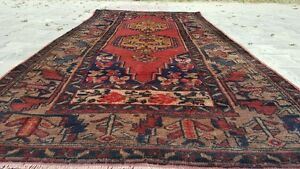 Antique Henna Dyes Cr1930 1939s Wool Pile 4x8ft Dowry Rug