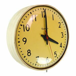 Simplex 804 064 B 13 Vintage School Electric Round Wall Clock Metal Glass White