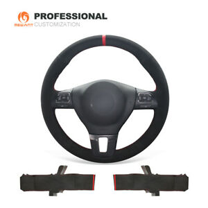 Diy Black Suede Steering Wheel Cover For Vw Golf Tiguan Limited Passat Jetta