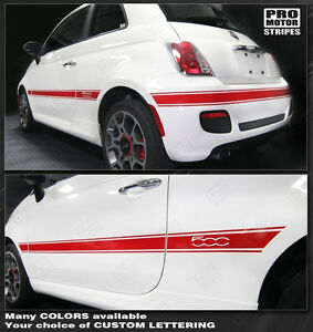 Fiat 500 2007 2015 Side Rear Mid Body Stripes Decals Choose Color