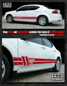 Dodge Avenger 2008 2014 Rocker Panel Side Stripes Decals choose Color