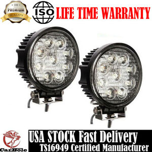 2pc 27w 5in Spot Round Led Work Light Offroad Fog Driving Drl Suv Atv Truck 4wd