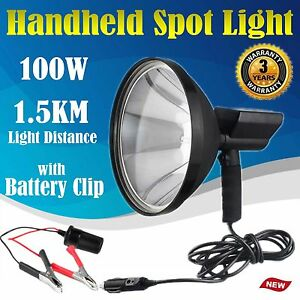 9 Inch 100w 12v Handheld Hid Spotlight Hunting Search Light 6000k W Battery Clip