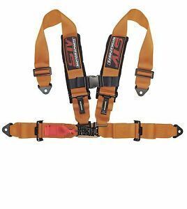 Racing Harness Seat Belt 4 Point 3 Inches Straps Orange Sfi Latch Link