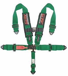 V Type 5 Point Racing Harness Set Latch And Link 2 Inch Safety Seat Belt Green
