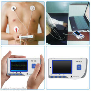 Portable Heal Force Ecg Heart Monitor Fda Color Lcd lead Cable 50 Electrode Pads