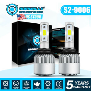 9006 Hb4 1500w 225000lm Cob Led Headlight Kit Hi Lo Light Bulbs 6000k Vs Hid