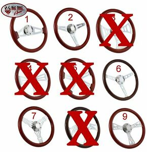 Hot Rod Or Muscle Car Steering Wheel Mahogany Chrome 15 Choose Your Style