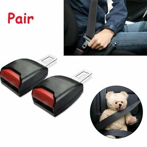 Pair Auto Car Safety Seat Belt Buckle Extension Extender Clip Black Alarm Stop