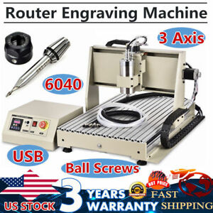 Usb 3 Axis 6040 Cnc Router Engraving Milling Drill Machine Woodworking 1 5kw Vfd
