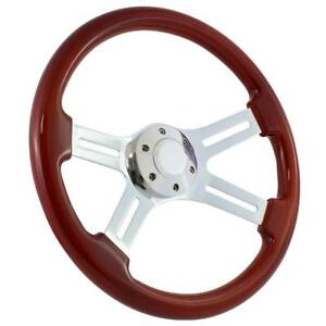 Mahogany Chrome 15 Steering Wheel 1965 1969 Ford Mustang Fairlane Falcon